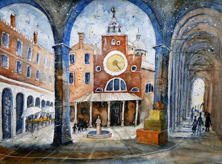 Aquarellmalerei, Italien, Venedig, Kirche, Aquarell