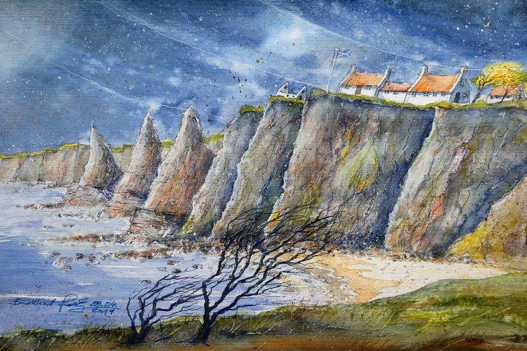Highlands, Schottland, Küste, Meer, Aquarellmalerei, Felsen