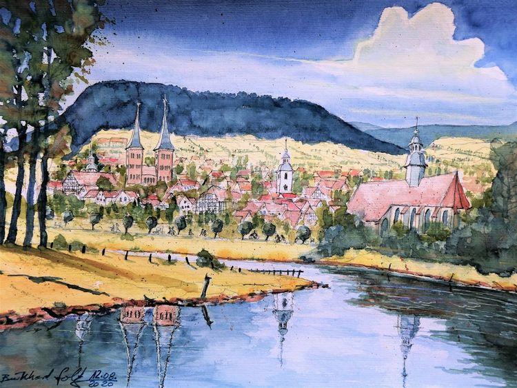 Weser, Weserbergland, Flusslandschaft, Sommer, Stadtlandschaft, Höxter