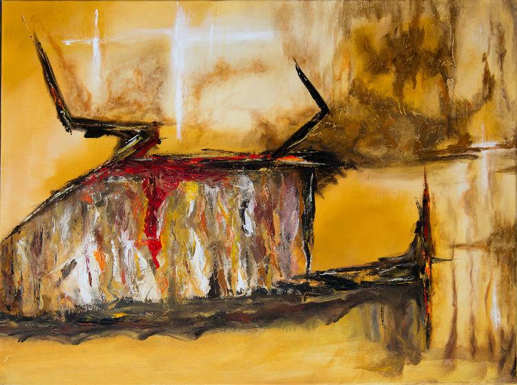 Abstrakt, Gelb, Ocker, Braun, Rot, Malerei