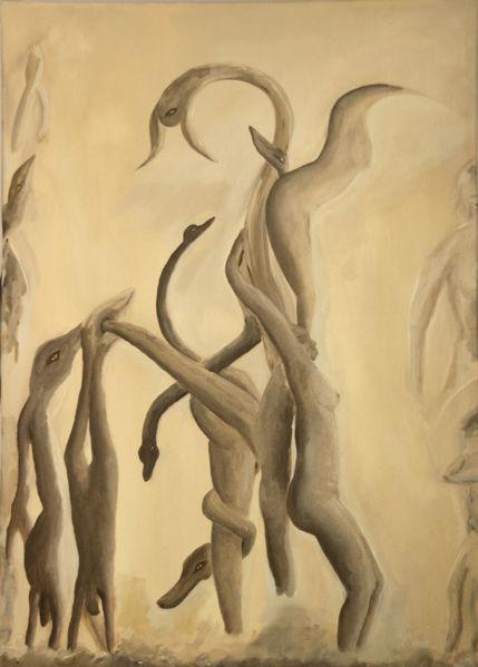 Surreal, Beige, Abstrakt, Sepia, Ocker, Braun