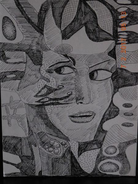 Portrait abstrakt, Mischtechnik, Zeichnung, Zeichnungen