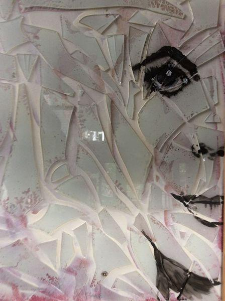 Portrait, Frau, Scherbe, Glas, Malerei
