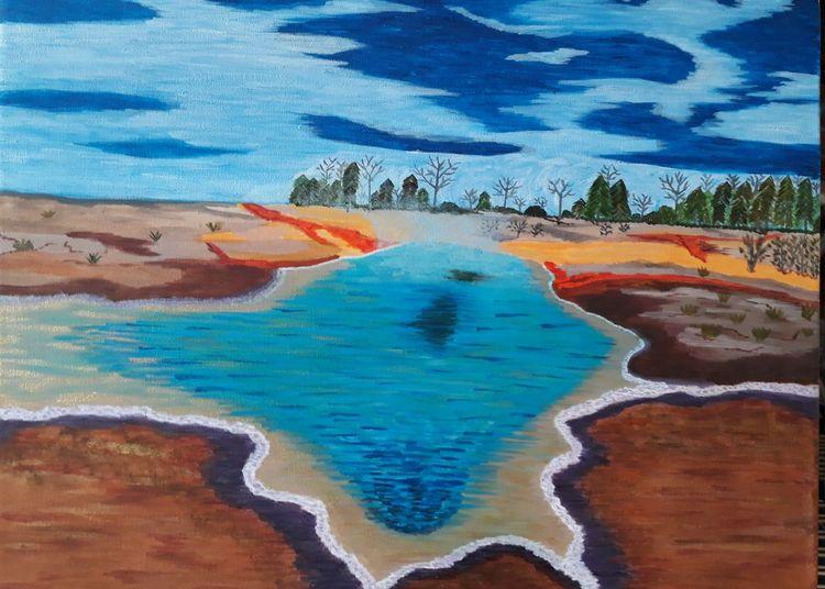 See, Landschaft, Lava, Malerei, Quelle