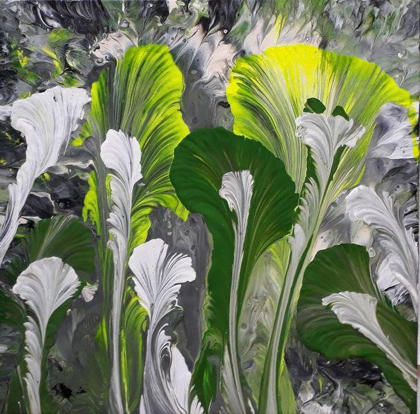 Weiß, Grün, Neongelb, Malerei, Abstrakt