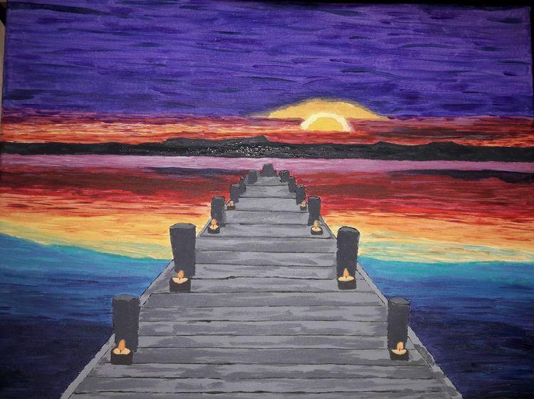 Landschaft, Sonnenuntergang, Malerei, Wasser, Steg