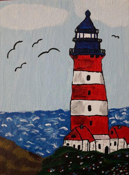 Leuchtturm, Wasser, Meer, Malerei