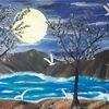Kranich, Baum, Wasser, Malerei