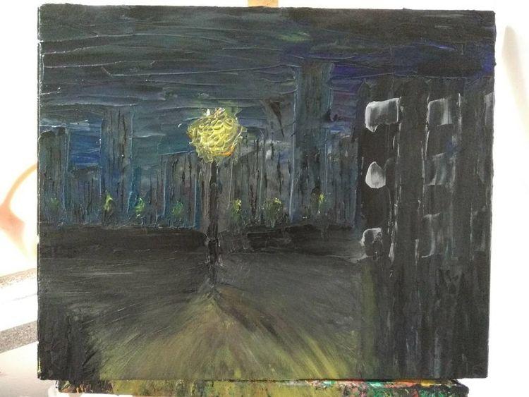 Surreal, Abstrakt, Mischtechnik, Malerei, Spachteltechnik, Nacht