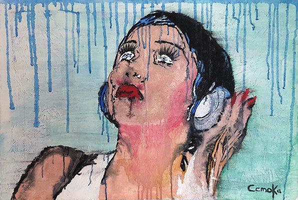 Frau, Passion, Modern, Modern art, Farben, Regen