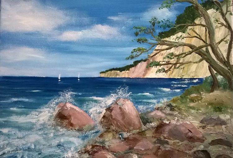 Ostsee, Rügen, Blau, Malerei, Landschaft, Steilküste