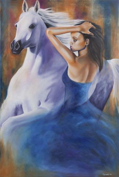 Figur, Blau, Menschen, Pferde, Malerei, Gesicht