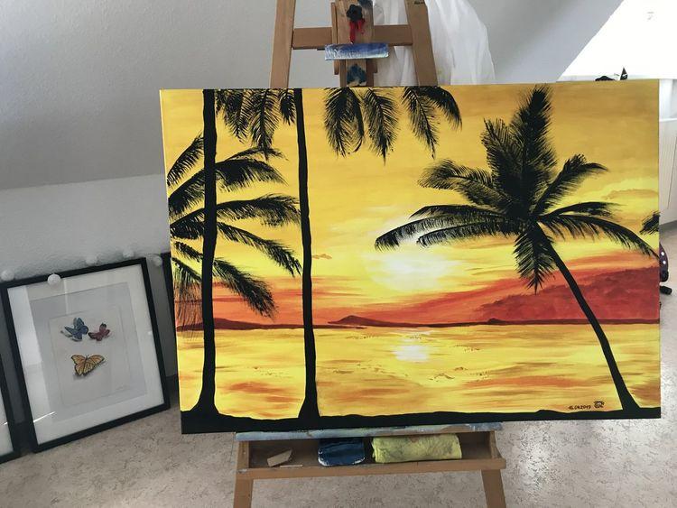 Sonnenuntergang, Leuchtend, Strand, Gemälde, Natur, Palmen