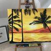 Strand, Sonnenuntergang, Leuchtend, Gemälde