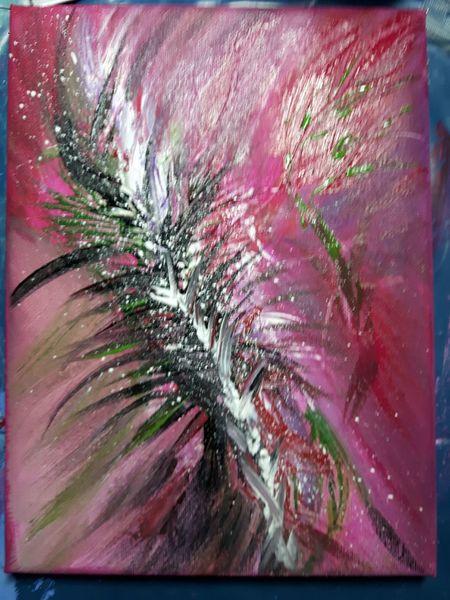 Acrylmalerei, Blüte, Farben, Wischtechnik, Abstrakt, Malerei acryl