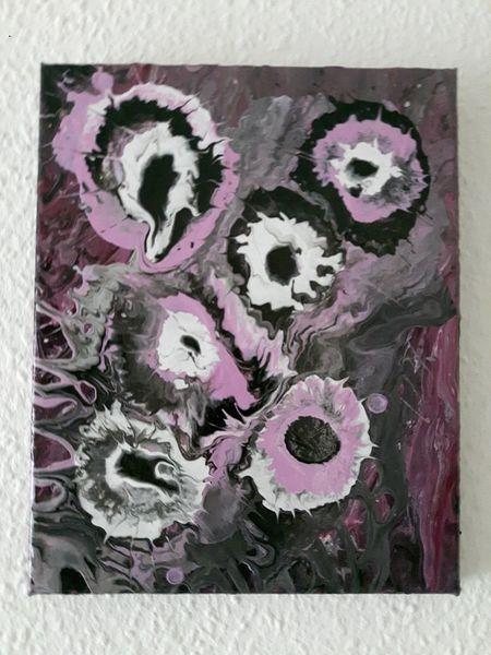 Acrylmalerei, Weiß, Malerei modern, Abstrakt, Fließtechnik, Malerei acryl