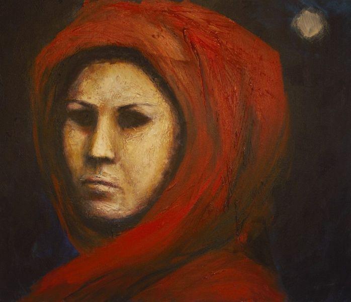 Gesicht, Nacht, Gruselig, Rot, Malerei