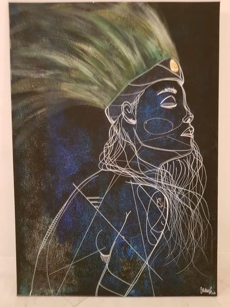 Indianerin, Blauweiß, Abstrakt, Zeichnungen,