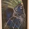 Blauweiß, Abstrakt, Indianerin, Zeichnungen
