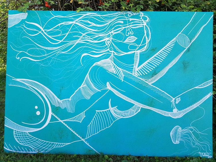 Blau, Frau, Wasser, Zeichnungen