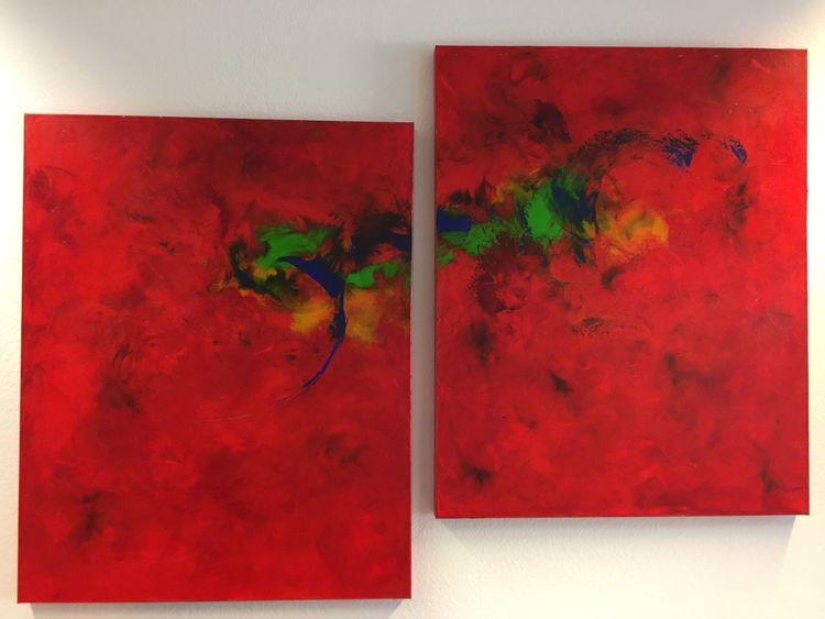 Abstrakt, Spachteltechnik, Acrylmalerei, Malerei acryl, Malerei modern, Rot