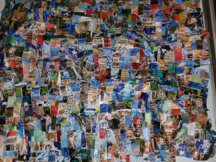 Collage, Bunt, Farben, Mischtechnik, Fahrt