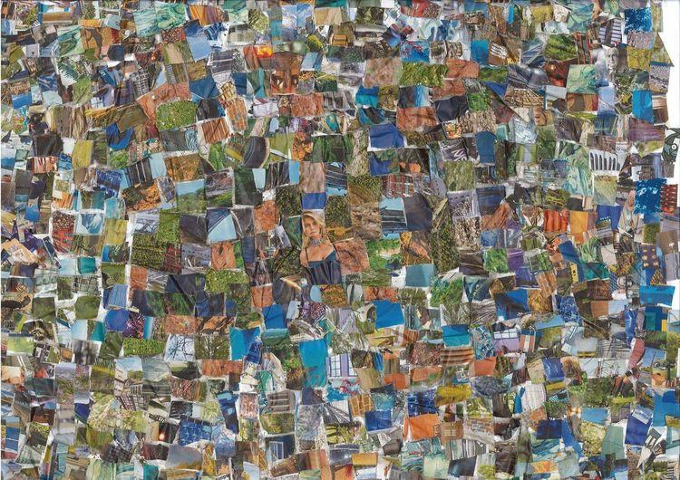 Collage, Bunt, Farben, Mischtechnik, Augen