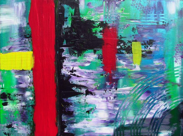 Abstrakt, Blau, Acrylmalerei, Gelb, Lila, Modern art