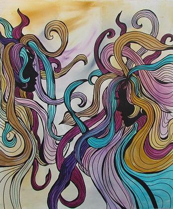 Acrylmalerei, Modern art, Menschen, Malerei
