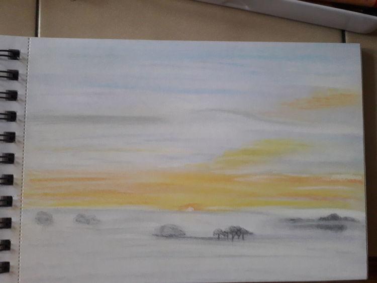 Landschaft, Kampf, Malerei, Oktobermorgen, Natur, Sonne