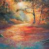 Baum, Lichtung, Licht, Acrylmalerei