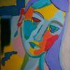 Portrait, Temperamalerei, Bunt, Expressionismus