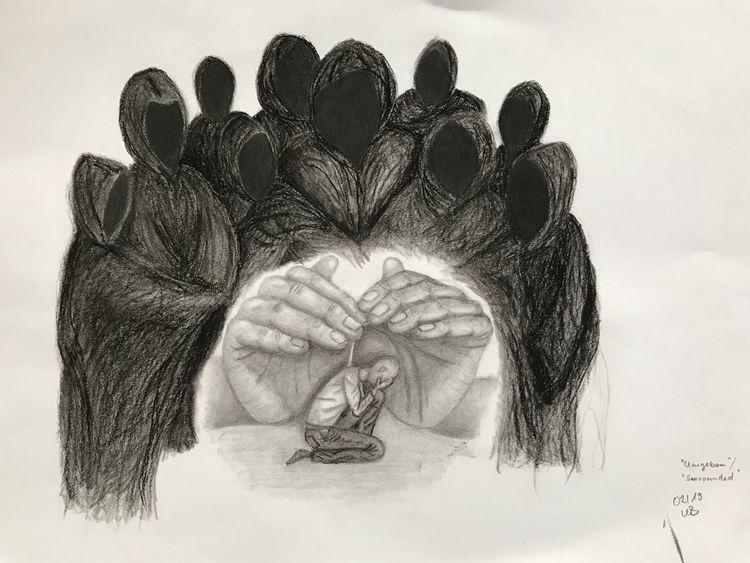 Hände, Glaube, Bleistiftzeichnung, Geborgenheit, Riese, Gebet