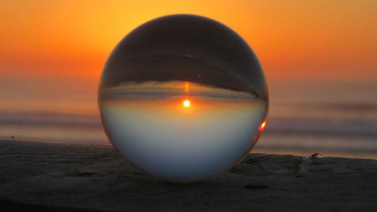 Sonnenuntergang, Meer, Auszeit, Fotografie, Glaskugel