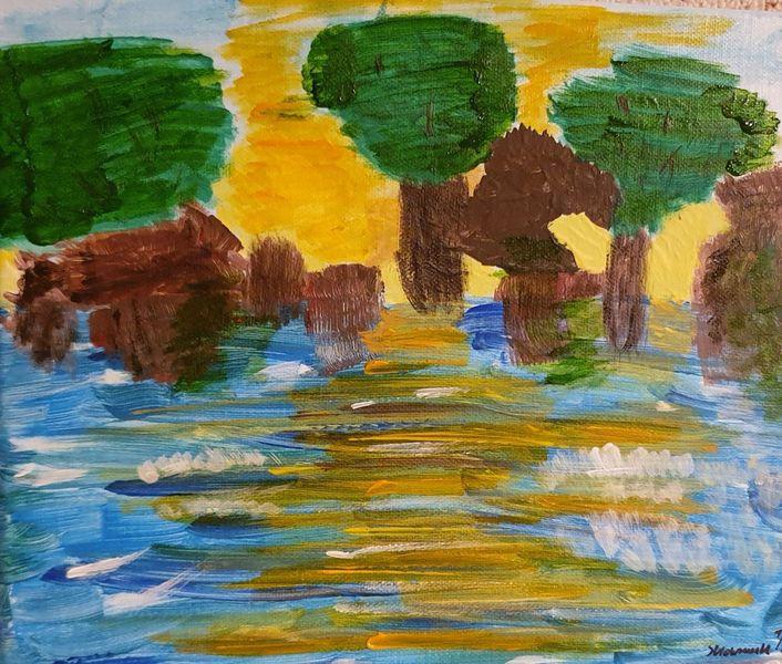Acrylmalerei, Wasser, Landschaft, Malerei, Fluss,