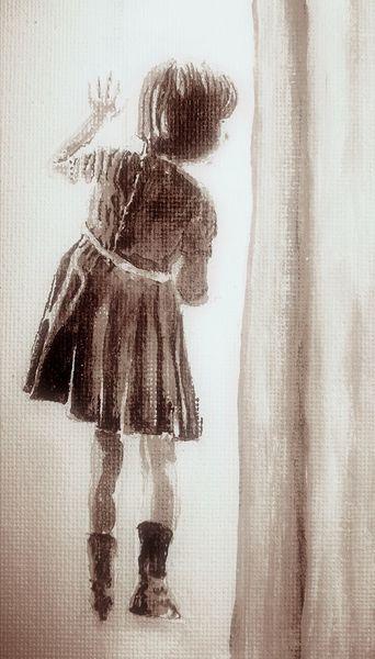 Mädchen, Malerei, Fenster