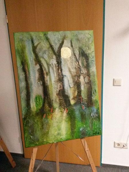 Wald, Mondschein, Acrylmalerei, Malerei