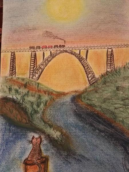 Wahrzeichen, Wupper, Katze, Brücke, Malerei