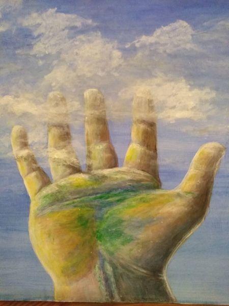 Wolken, Hand, Himmel, Malerei, Vertrauen