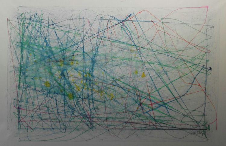 Linie, Blau, Formal, Abstrakt, Mischtechnik,