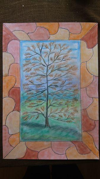 Mosaik, Aquarellmalerei, Pastellmalerei, Baum, Mischtechnik