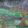 Steinmauer, Olivenbäume, Sonnenblumen, Mischtechnik