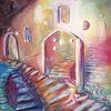 Tür, Leben, Ölmalerei, Stufe