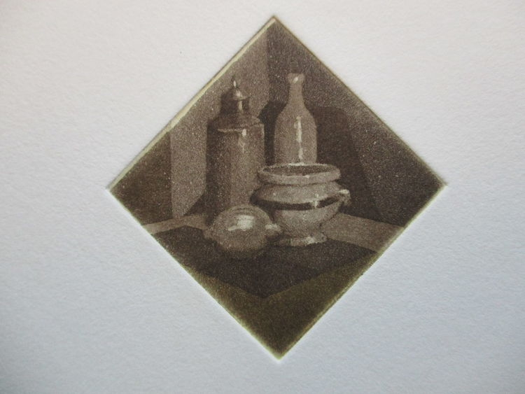 Miniatur, Stillleben, Druckgrafik, Zitrone,
