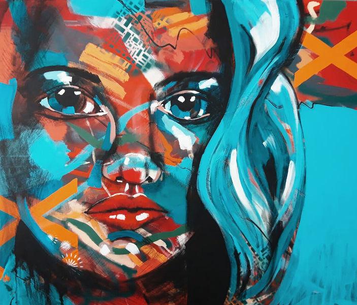 Expressionismus, Acrylmalerei, Bunt, Farben, Figur, Portrait