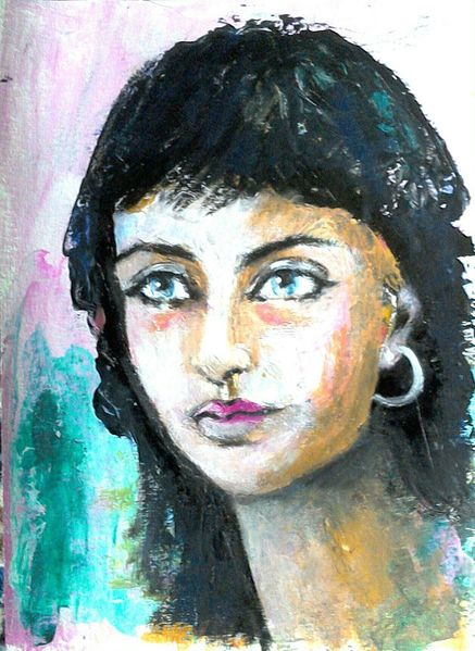 Schwarze haare, Portrait, Blau, Acrylmalerei, Grün, Frau