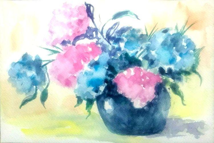 Aquarellmalerei, Rot, Blumenstrauß, Vase, Garten, Blumen