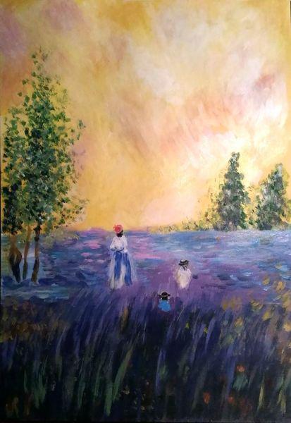 Landschaft, Acrylmalerei, Landschaftsmalerei, Baum, Blumen, Malerei