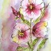 Aquarellmalerei, Rosa, Sommer, Blumen