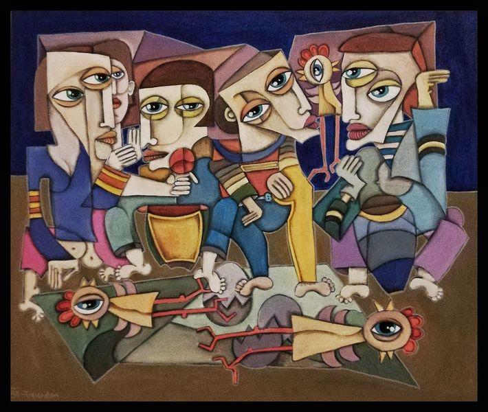 Acrylmalerei, Weiß, Malerei, Rot, Figurativ, Modern kunst